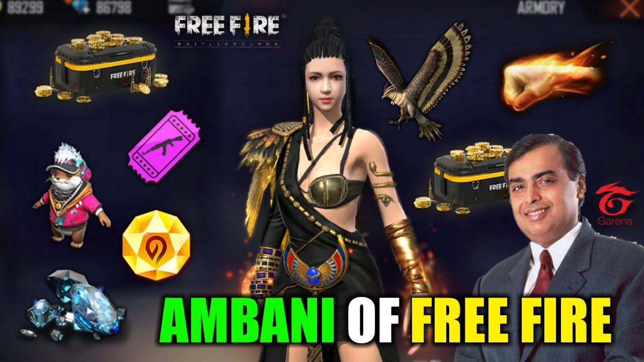 Ambani of Free Fire 100,000$ Best Collection - Garena Free Fire