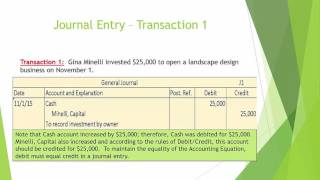 Video 3 - Recording Transactions in the General Journal