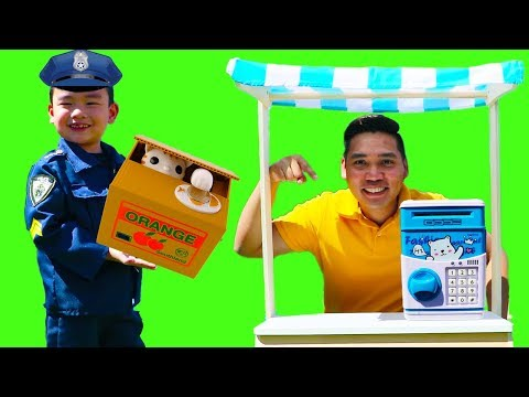 Police Lyndon Pretend Play with Mini ATM Toy Machine & Piggy Bank Toy