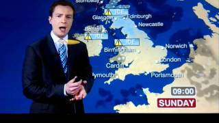 "BBC weather man says ""Bucket loads of cunt"" live o"