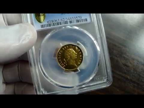 1804 Gold Half Guinea Coin PCGS MS62