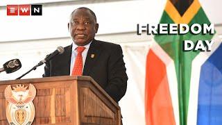 President Cyril Ramaphosa led the 2021 National Freedom Day celebrations on 27 April 2021, in Botshabelo, Free State Province.