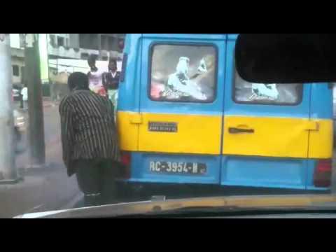 Manual handbrake in Guinea traffic!
