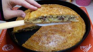 Ваша семья будет сыта и довольна😍Очень вкусный и сочный мясной пирог☆Улетает со стола в один миг😋
