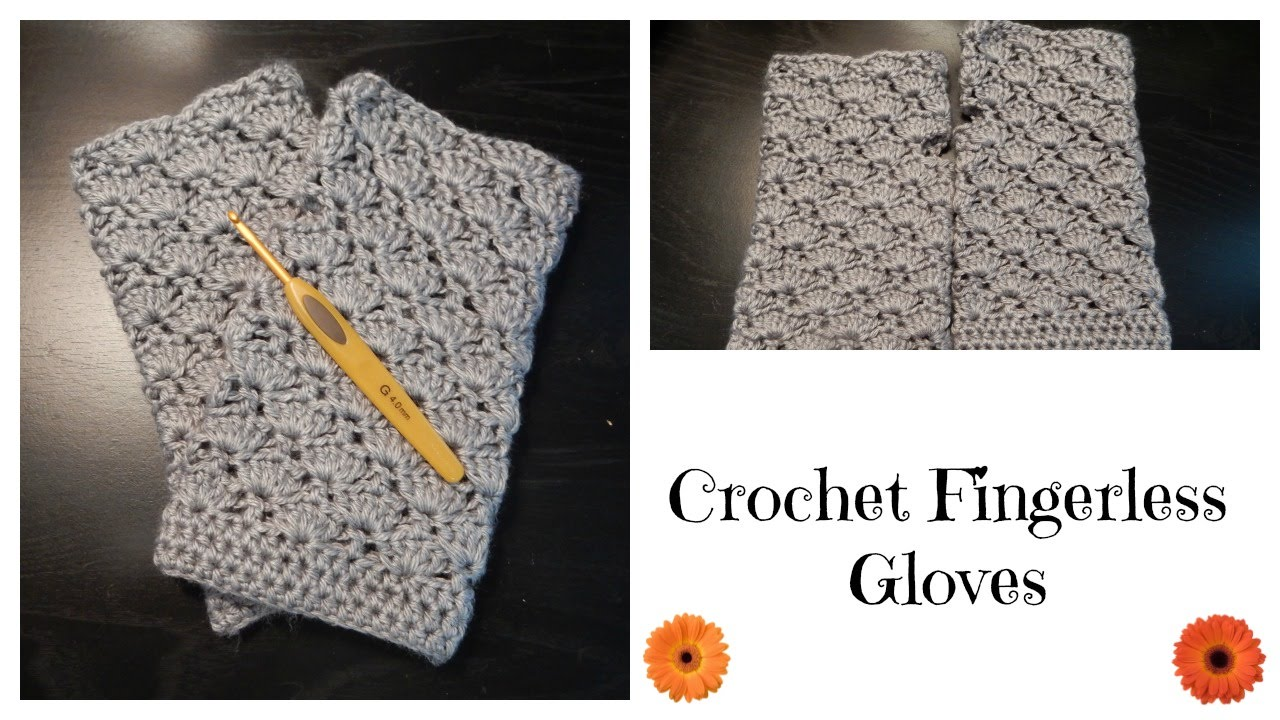 How to crochet fingerless gloves shell pattern youtube bankloansurffo Image collections