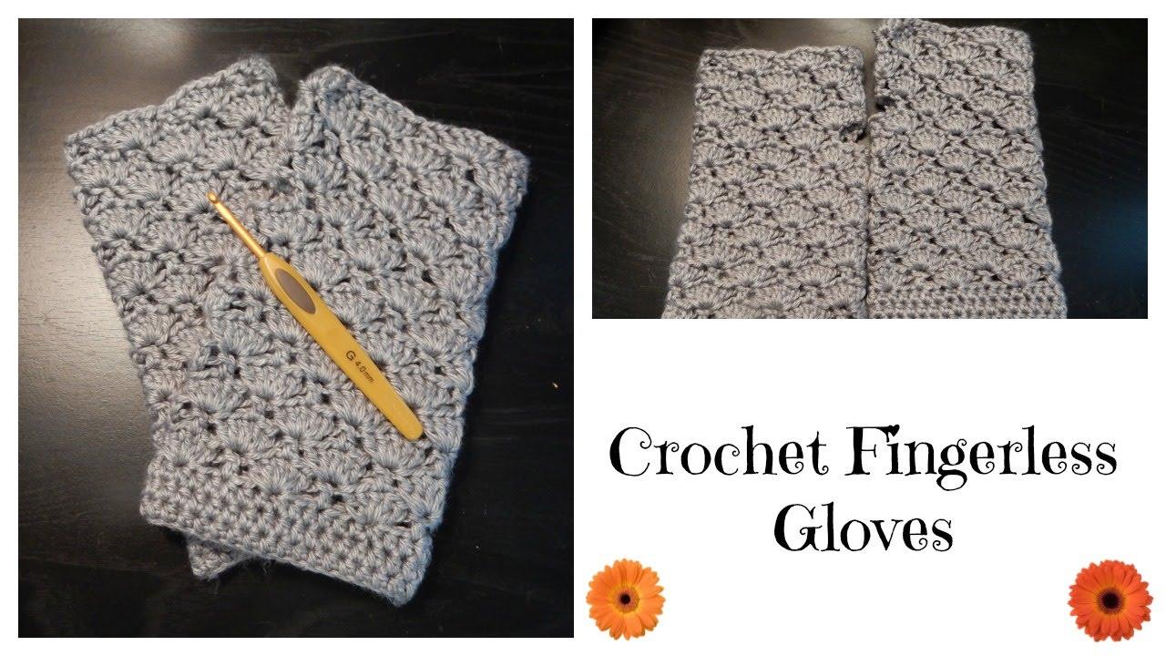 How to crochet fingerless gloves shell pattern youtube bankloansurffo Images