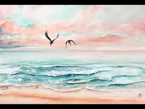 Pink Beach In Watercolors Painting Tutorial