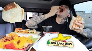 EATING Steak Burrito, Pulled Pork Nachos, Cheese Quesadilla, Calamari Bites Burrito Boyz MUKBANG