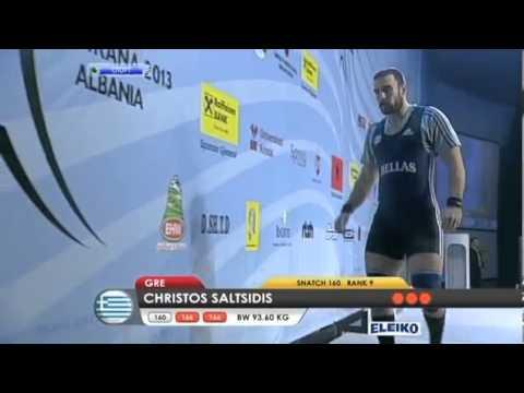Men 94 kg snatch European Weightlifting Championships Tirana 2013