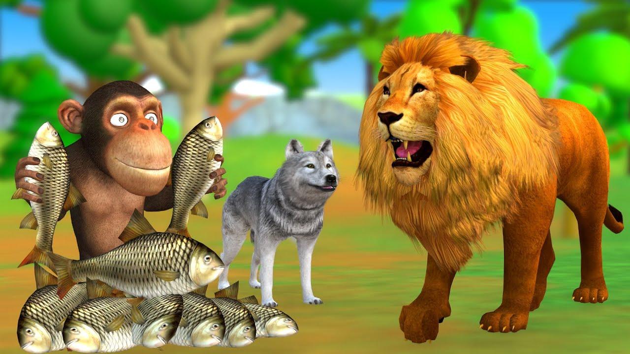 चालाक बंदर शेर और लोमड़ी Clever Monkey Lion and Fox नैतिक कहानी Hindi Kahaniya - 3D Stories in Hindi