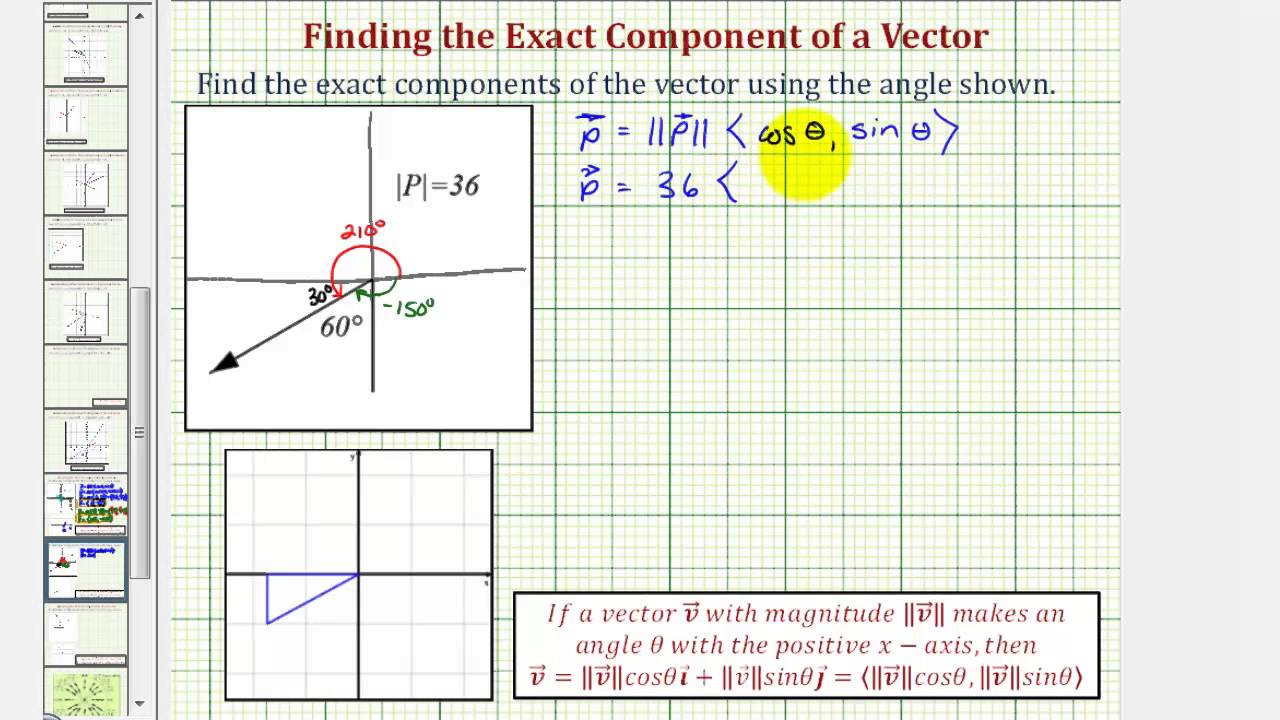 Ex 1: Find a Vector in Component Form Given an Angle and the ...
