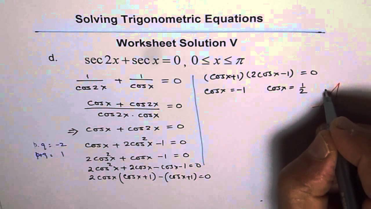 Worksheets Solving Trig Equations Worksheet trigonometric equations worksheet 5 solution q4 youtube q4