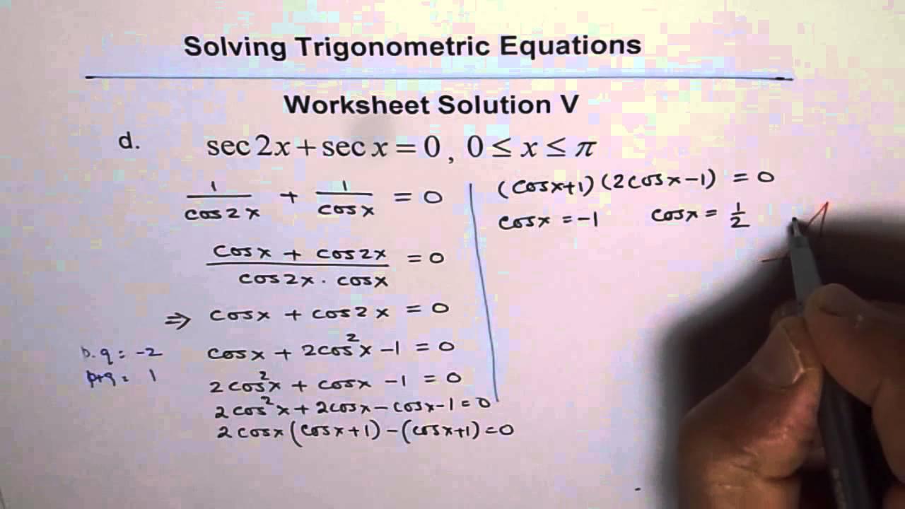 Worksheets Solving Trigonometric Equations Worksheet trigonometric equations worksheet 5 solution q4 youtube q4