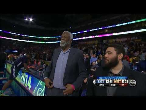 2014 NBA All-Star Game: Remembering the Giants of the past | Crowd sings Bill Russell birthday song