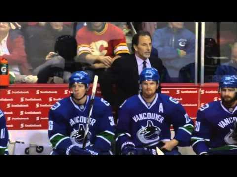 Line brawl 11 min ver. Calgary Flames vs Vancouver Canucks 1/18/14 NHL Hockey.