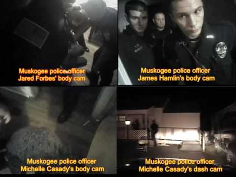 Muskogee police cops pepper spray 84 year old woman (four synched body/dash cam videos)