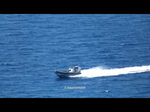 Hellenic Navy HS Kyknos P198 southbound Chios Strait as Frontex RV-11-70 & TCSG902 patrolling.