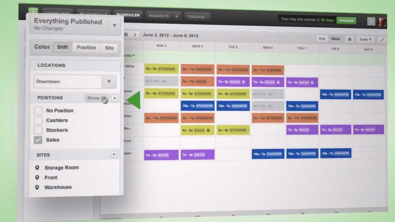 making the work schedule with the scheduler youtube
