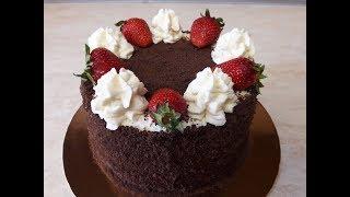 Шоколадный торт КЛУБНИКА СО СЛИВКАМИ простой рецепт ПРОСТОЕ украшение тортов