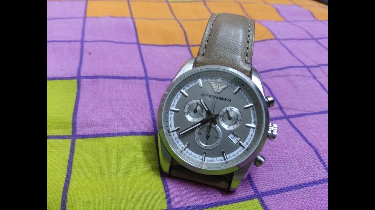 varastossa ensimmäinen katsaus ostokset How to set and use stop watch( chronograph )in Emporio Armani chronograph 3  eye model