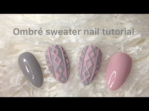Ombre Cable Knit Sweater Nails Tutorial