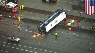 米カリフォルニア州で、バス会社「グレイハウンド」が運営する長距離バ...