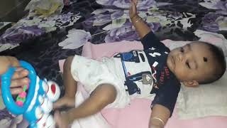 #FunnyBaby #HappyBabyBoy 4 Month's Advik Playing With His Rattle