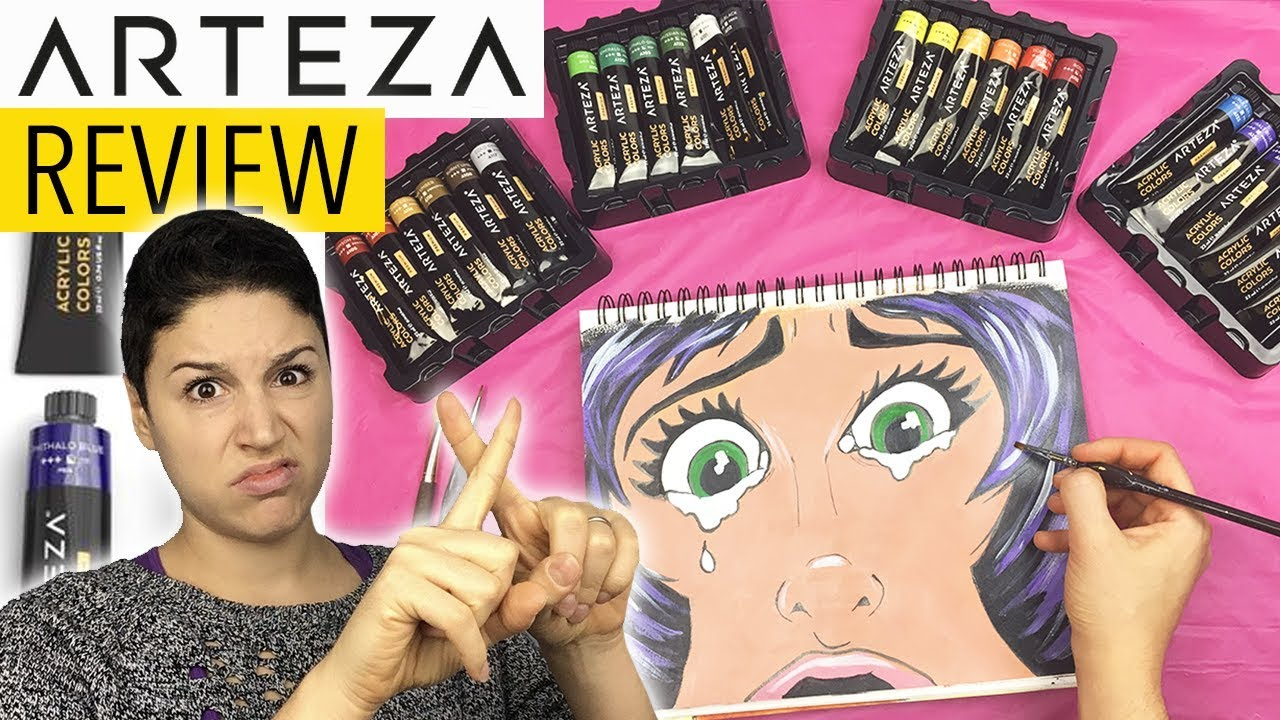 ARTEZA Acrylic Paint 24 Set [HONEST REVIEW] | Unboxing + LightFastness Test | Supplies for Beginners - YouTube