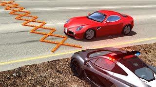 Spike Strip Multi-Vehicle Pileup Crashes #24 - BeamNG Drive Car Crashes