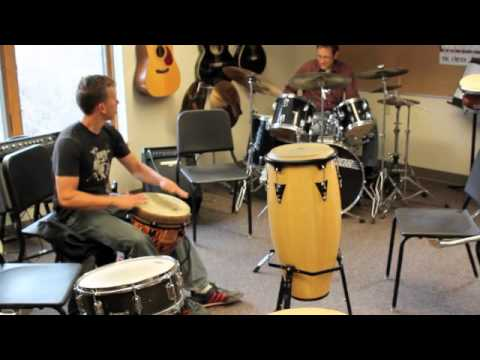 Djembe & Drumset jam at Long Trail School