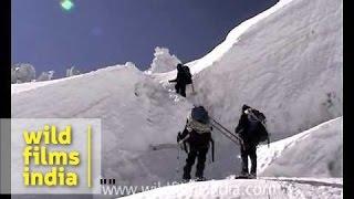 Crevasse crossing, Khumbu, Everest