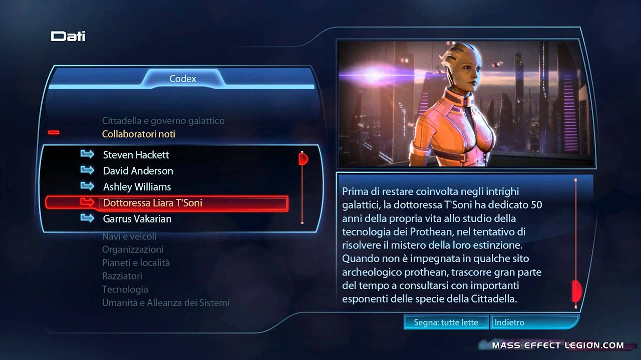 Mass Effect 3 Codex Collaboratori Noti Dottoressa Liara Tsoni