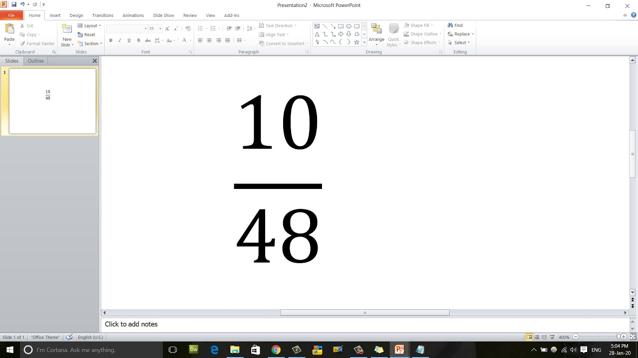 How to write Fraction or Division sign in PowerPoint and Ms Word