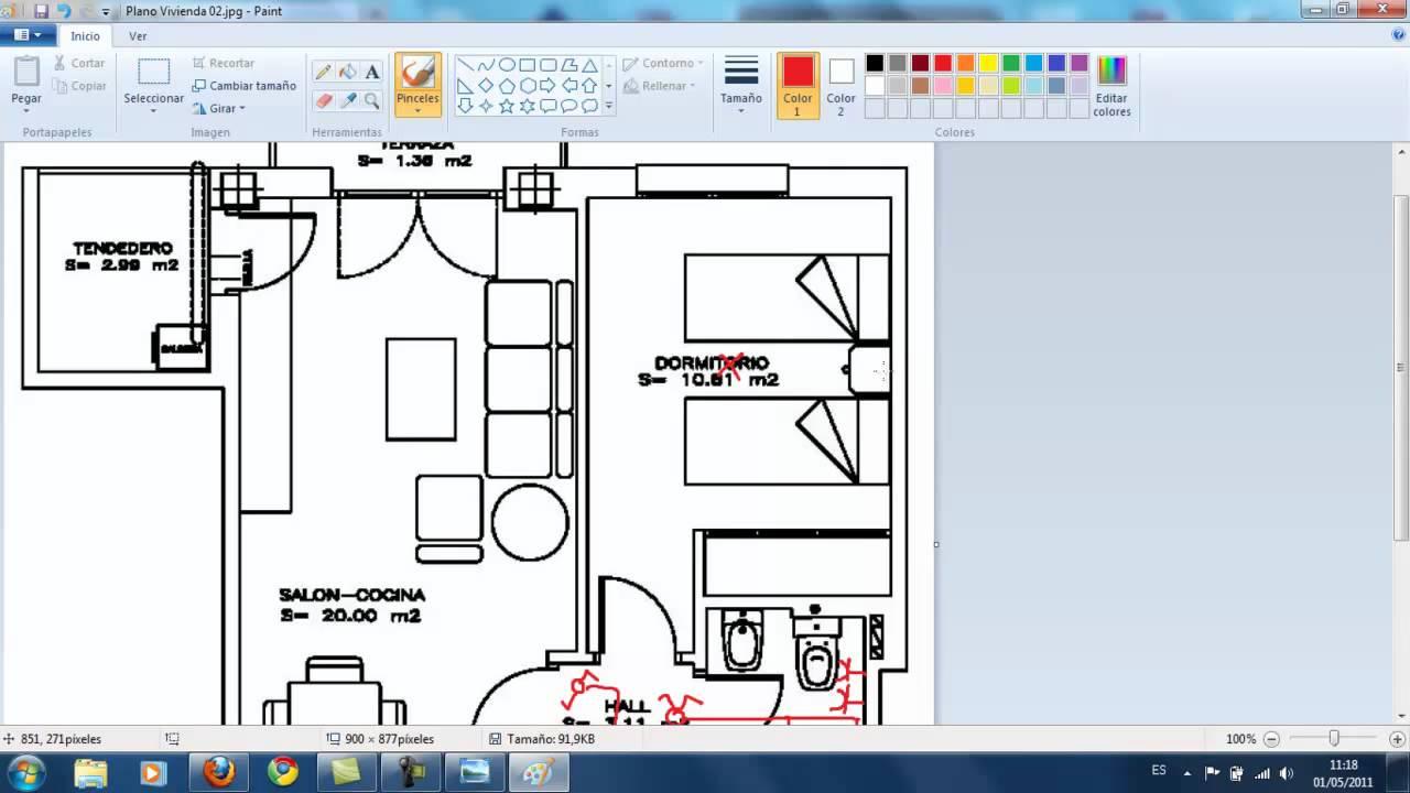 Aplicaci n de la itc bt 25 a un plano de una for Planos de viviendas de un piso