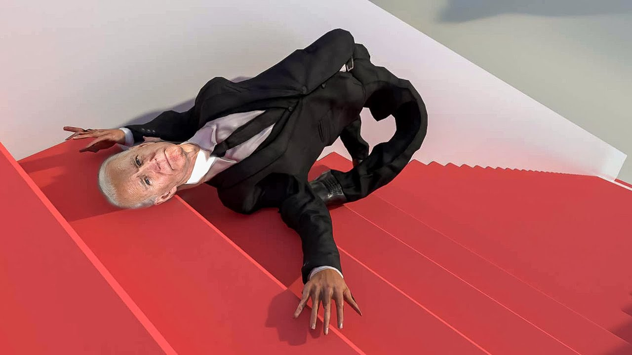 President Biden falls on Air Force One stairs over and over and over again