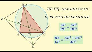 Línea simediana y punto de Lemoine | Teoría y demostración de teoremas asociados