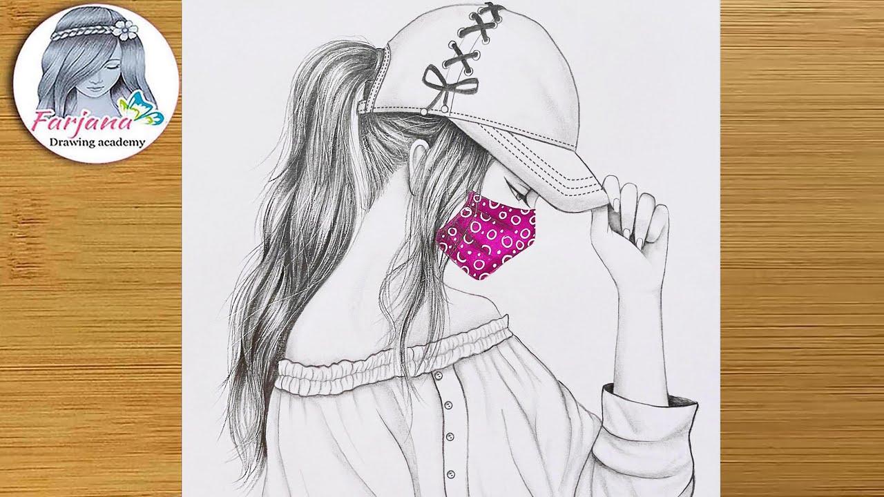 Easy way to draw A Girl wearing face mask protection    Pencil Sketch    Kolay Maskeli Kız Çizimi