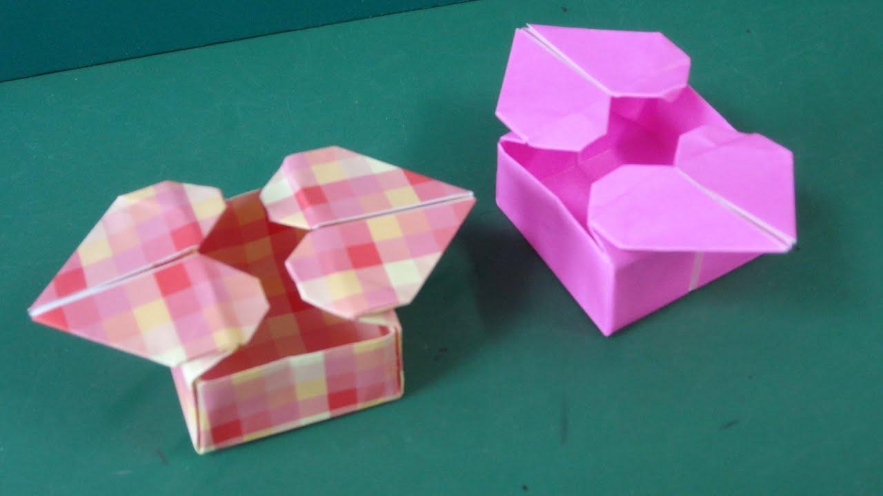 Origami Heart Box : 折り紙 箱 簡単 : 折り紙