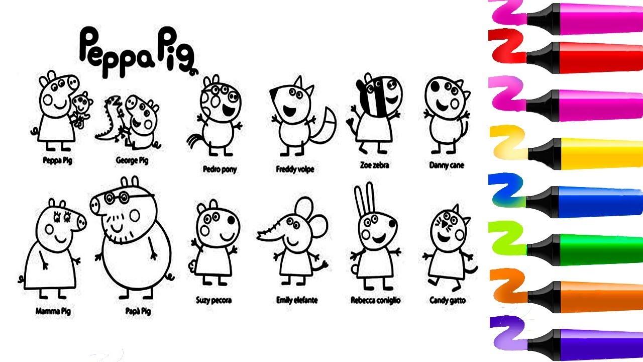 Dessin Facile à Colorier- Coloriage Peppa Pig, George, Pedro, Freddy...Coloriage MAGIQUE Pour