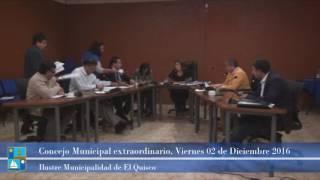 Concejo Municipal extraordinario VIernes 02 de Diciembre 2016