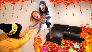 LAVA inside our HOUSE!!  Backyard Volcano covers floor for a new Lava Ball challenge with Adley!
