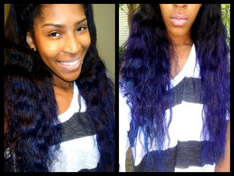 blue hair ft hairextensionaires brazilian straight wavy