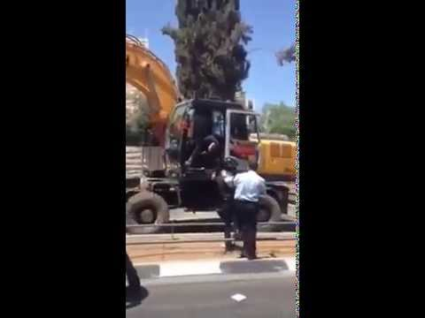 Dramatic closeup video of Israeli terrorist attack by Arab bulldozer terrorist (Censored version)