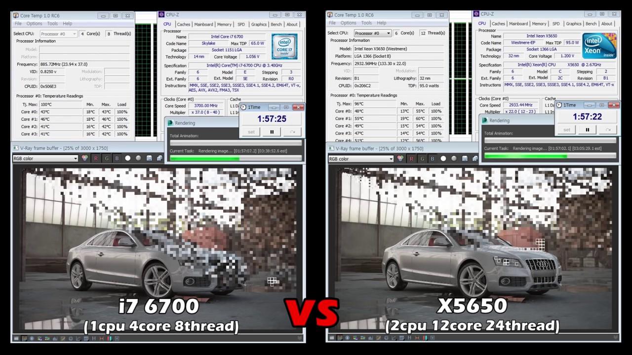 Hiệu năng Render i7 6700 VS X5650 - hoanglongcomputer.vn