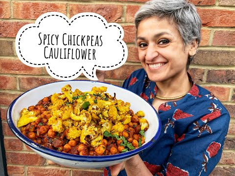 Spicy chickpeas with roasted cauliflower | Vegetarian | Vegan | Food with Chetna
