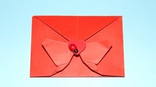 How To Make A Decorative Handmade Origami Butterfly Envelope - Valentine, Christmas And Birthdays.