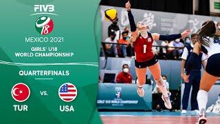 LIVE 🔴 TUR vs. USA - Quarterfinals | Girls U18 Volleyball World Champs 2021