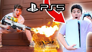 Destroying Kids PS4 & Surprising Him With NEW PS5! (GIVEAWAY)