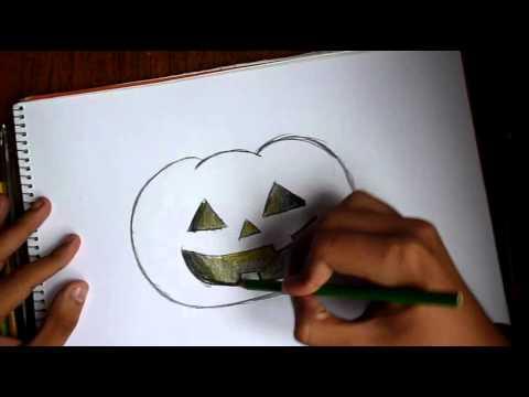 Como dibujar una calabaza de halloween en tiempo real - Como vaciar una calabaza ...