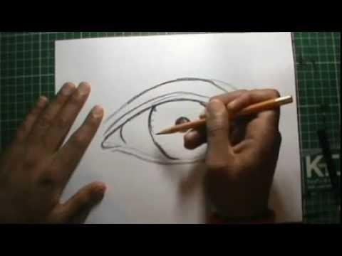 Dibujo de ojo realista con lapiz de cera Miradas que matan